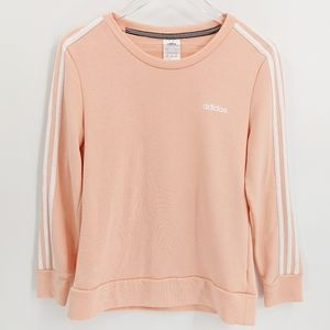 Adidas Peach Crew Neck Three Stripe Sweatshirt